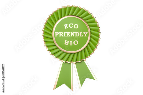 Eco friendly bio award, prize, medal or badge with ribbons. 3D rendering