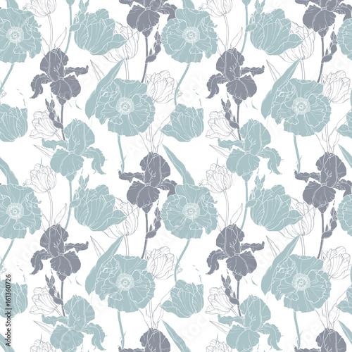 wektor-srebrnoszary-maku-i-tulipany-kwiatowy-bezszwowe-tlo-wzor-powtorzyc-swietne