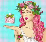 Pop art kobieta z perfumami