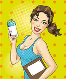 Vector pop art illustration of fitness girl with sports bottle