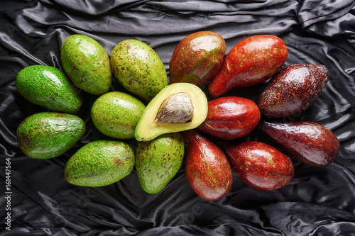 Top view of colorful fresh ripe avocado varieties