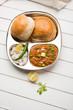 Pav bhaji or pavbhaji - popular Indian street food, selective focus