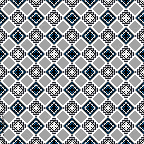 Seamless vector decorative hand drawn pattern. ethnic endless background with ornamental decorative elements with traditional etnic motives, tribal geometric figures. Print for wrapping, background - 161461931