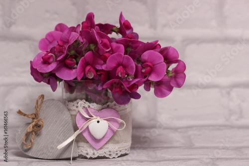 Grusskarte - pinkfarbene Wicken