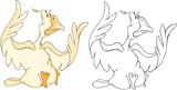 Illustration of a Cute Cockerel. Cartoon Character. Coloring Book