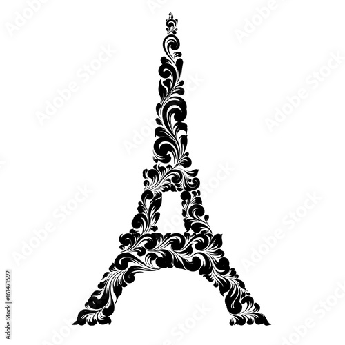 Eiffel tower silhouette made of decorate swirls. Vector illustration.