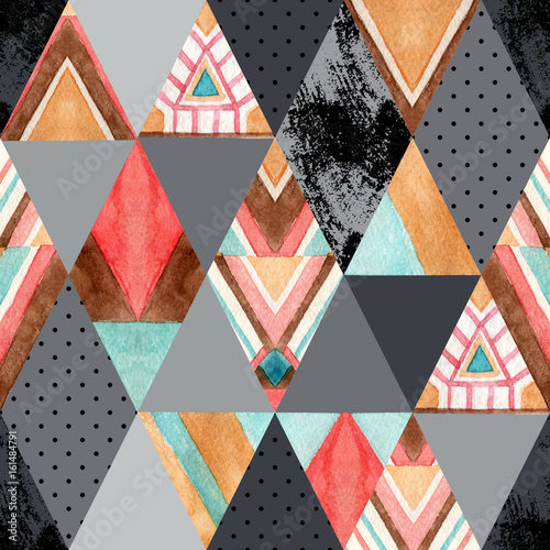 Rhombus and triangle seamless pattern. - 161484791