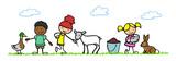 Kinder streicheln Tiere im Streichelzoo