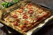 Hausgemachte Pizza Margherita vom Blech