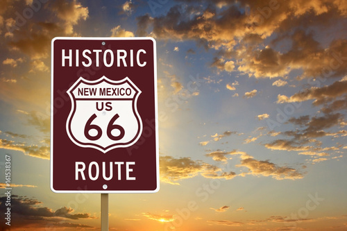 Canvas Route 66 Historic New Mexico Route 66 Brown Sign with Sunset