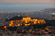 View of Athens and Acropolis from Lycabettus hill at sunset, Greece.