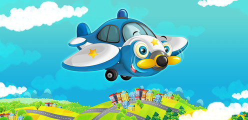 cartoon happy traditional plane with propeller smiling and flying over city