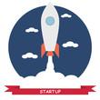 Start Up. Businessman rocket lift up. Concept business vector illustration
