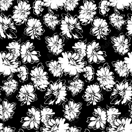 Flowers seamless pattern, vector, black and white - 161564533