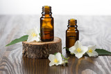 Jasmine essential oil and jasmine flowers