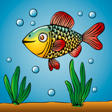Cartoon of cute golden fish. underwater world with water plants and bubbles