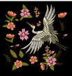 Japanese white crane and flowers. Embroidery vector. - 161596916