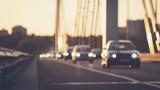 Cars driving on bridge road defocused image - 161611162