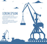Seaport banner with port crane silhouette - 161621542