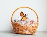 gift basket on grey background - 161634113