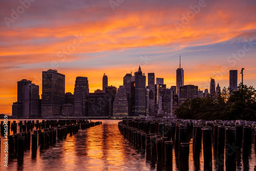 Sunset at Lower Manhattan Skyline, New York United States Poster