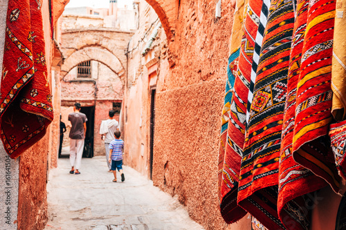 Poster Marokko colorful street of marrakech medina, morocco