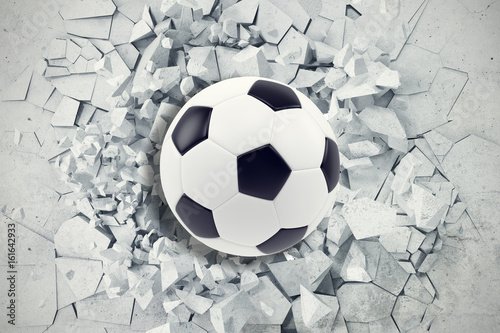 Zdjęcia na płótnie, fototapety na wymiar, obrazy na ścianę : Sport illustration with soccer ball coming in cracked wall. Cracked concrete earth abstract background. 3d rendering