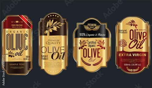 Retro vintage golden olive oil background collection - 161660732