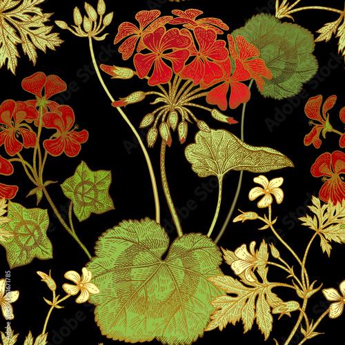Geranium flowers. Seamless floral pattern. - 161671785