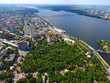 Aerial view. Houses and river in the city Dnepr, Ukraine.