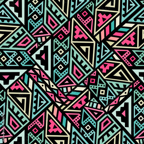 Cotton fabric Abstract Vector Seamless Pattern in Ethnic Style