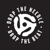 Drop the needle, drop the beat vinyl record logo