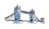London Bridge hand drawn isolated icon. English culture element, patriotic vector illustration.