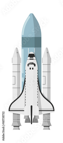 Modern space shuttle isolated icon. Astronautics and space technology object, spacecraft vector illustration in flat design.