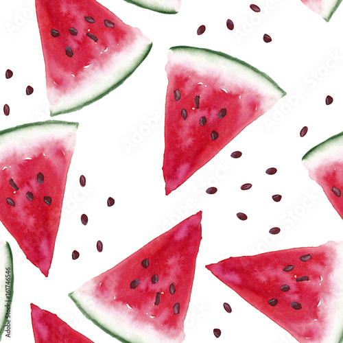 Watercolor seamless pattern with watermelons slices on white background. Hand painting on paper - 161746546