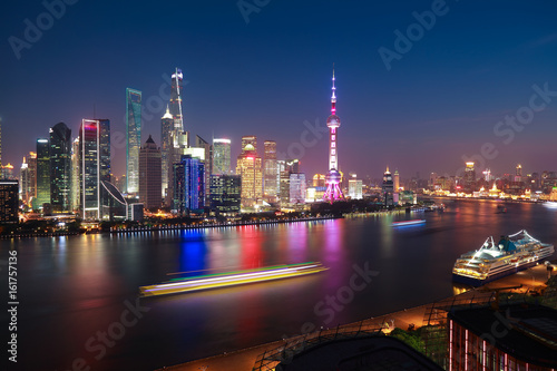 Aerial photography at Shanghai Skyline of night scene Poster