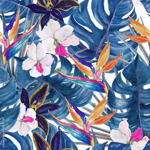 Watercolor seamless tropical pattern with exotic plants. Palm and deliciosa leaves. Orchid and bird of paradise flowers - 161767787