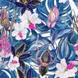 Cotton fabric Watercolor seamless tropical pattern with exotic plants. Palm and deliciosa leaves. Orchid and Medinilla Magnifica flowers