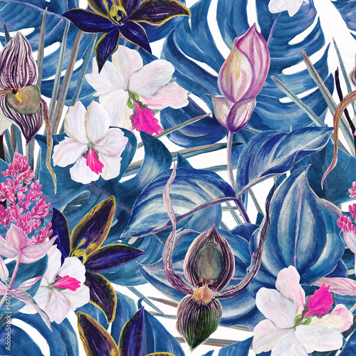 Watercolor seamless tropical pattern with exotic plants. Palm and deliciosa leaves. Orchid and Medinilla Magnifica flowers - 161767906