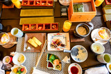 Japanese food set on table, top view