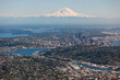 Mt. Rainier overlooking Seattle as taken from an airplane - 161777555