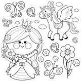 Princess fairy tale set. Coloring page