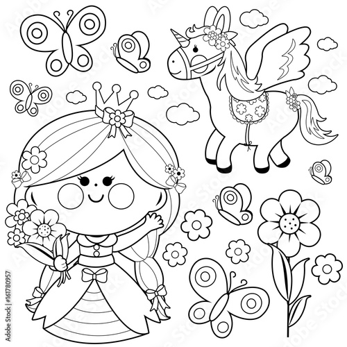 Princess fairy tale set. Coloring page