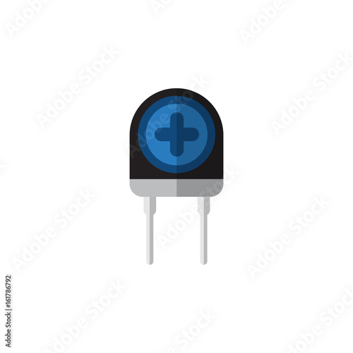 Isolated Diode Flat Icon. Transducer Vector Element Can Be Used For Recipient, Transistor, Transducer Design Concept.