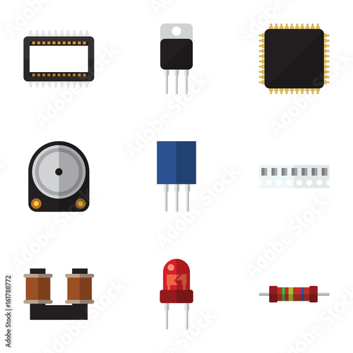 Flat Icon Device Set Of Cpu, Coil Copper, Receptacle And Other Vector Objects. Also Includes Coil, Resistor, Processor Elements.