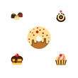 Flat Icon Bakery Set Of Dessert, Pastry, Doughnut And Other Vector Objects. Also Includes Delicious, Cake, Dessert Elements.