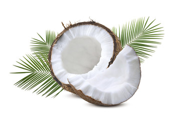 Coconut half piece with leaves isolated on white