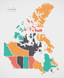 Canada Map with states and modern round shapes