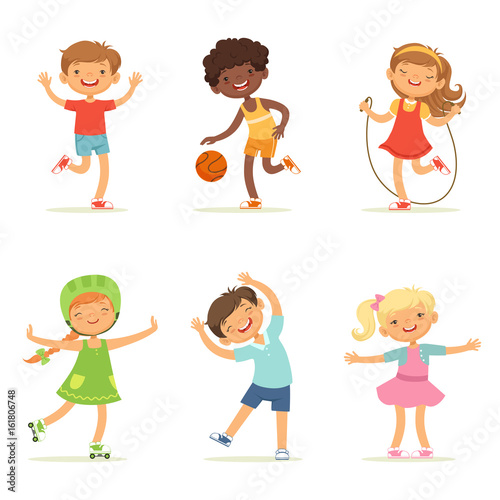 Kids playing in active games. Vector illustrations of funny children at playground © ONYXprj