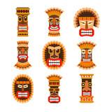 Tribal ethnic african ritual masks set. Vector illustration - 161818569